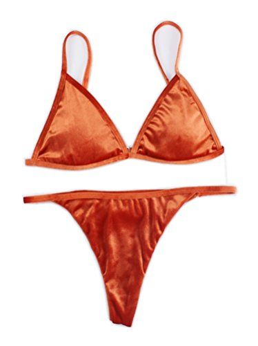 Women's 2 Pieces Pantie Triangle Bikini Sets Velvet Micro Thong Sets Orange (Micro Thong Set)