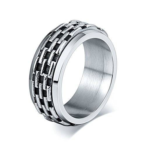 Gnzoe 316L Stainless Steel Ring For Men Lattices Sliver Size 8 Polished Punk Style ()