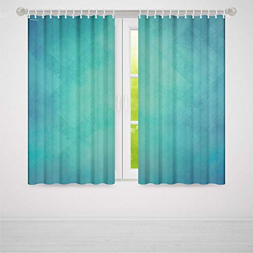 Teal Small Window Blackout Curtains,Retro Inspired Grunge Style Abstract Pattern Vintage Design Calming Color Scheme,for Bedroom Living Dining Room Kids Youth Room, 2 Panel Set,59W X 65L Inches