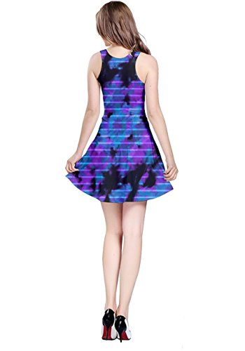 Cowcow para mujer Tie Dye impresión patrón Estilo sin mangas vestido skater, XS-5X L Purple & Blue