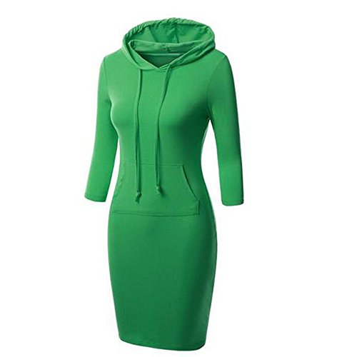 Menglihua Womans Basic Bodycon Pullover Hooded Hoodies Dress with Kangaroo Pockets Green Raglan Sleeve Medium