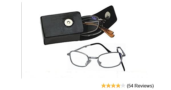 d060cfd5a7a Amazon.com  Deluxe Folding Reading Glasses - Pocket Readers - Includes  Black Hard Snap Case with Clip (1.75