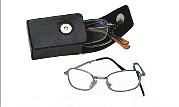 8968f0e69e Deluxe Folding Reading Glasses - Pocket Readers - Includes Black Hard Snap  Case with Clip (