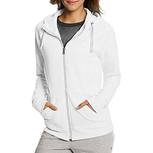 Champion Women's Fleece Full-Zip Hoodie, White, Medium