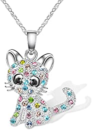Lanqueen Cute Cat Pendant Necklace, Lovely Cat Stud Earrings Hypoallergenic Earrings Cubic Zirconia Cat Jewelr