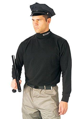 Security Embroidered Black Tactical Mock Turtleneck