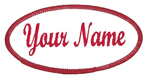 Oval Name Patch Uniform Work Shirt Custom Embroidery White with Red Border, Iron