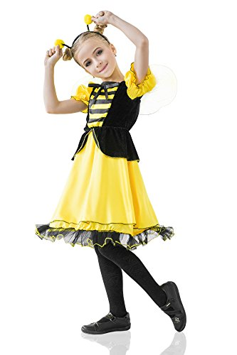 Bumble Bee Costumes Shoes (Girls' Royal Honey Bee Maya Bumble Bee Wasp Dress Up & Role Play Halloween Costume (8-11 years))