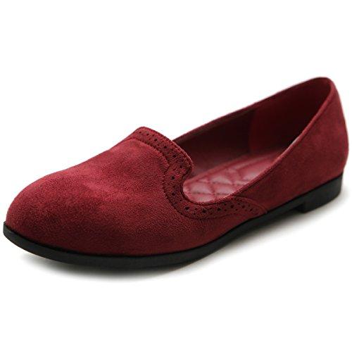 (Ollio Women's Shoe Ballet Faux-Suede Cute Comfort Multi Color Flat ZM1032(6.5 B(M) US, Burgundy))