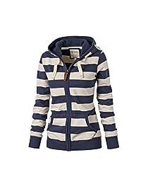 YACUN Women's Casual Striped Zip Coat Hooded Sweatershirt