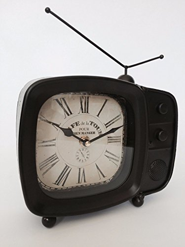 Retro Design TV Television Clock Metal Vintage Style Novely Classic Xmas (Metal Retro Tv Clock)
