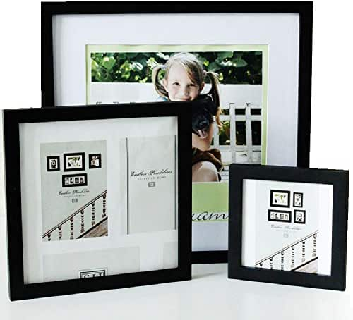 TWIKIK 14 x 14 Picture Frames Made of Solid Wood with High Definition Glass Front and 1 Mat for 10 x 10 Picture, Square Wall Mounting Photo Frame Black