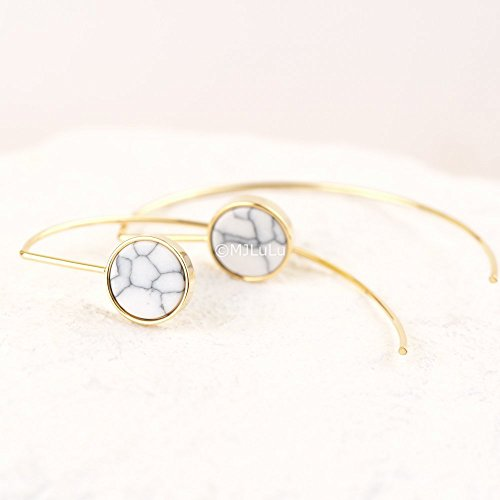Gold Simulated Stone Earrings (White Simulated Howlite Stone Arc Ear Gold Threaders, Open Hoop Earrings)