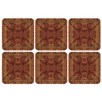 Pimpernel Walnut Burlap Collection Coasters - Set of 6 (Walnut Coasters)