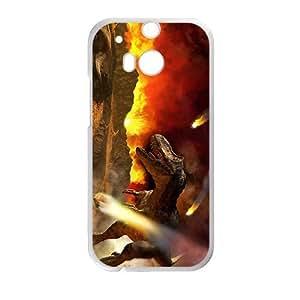 DAZHAHUI Fire Creative Dinosaur Custom Protective Hard Phone Cae For HTC One M8