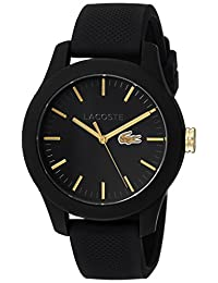 Lacoste Women's 2000959 Casual Lacoste 12.12-3h- Black Silicone Strap- Black Dial Watch