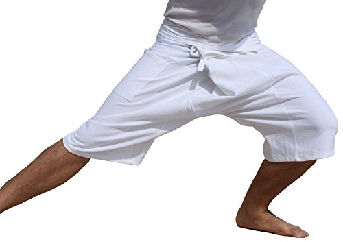 RaanPahMuang Brand Plain Muang Cotton Thai Fisherman Capri Wrap Pants, X-Large, (3/4 Thai Fisherman Pants)
