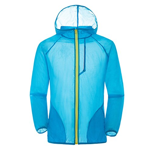 Zhhlinyuan Fashion High Quality Womens Waterproof Rainproof Lightweight Anti-UV Jacket Sky Blue