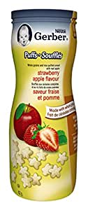 Gerber Strawberry Apple Puffs, Snack, 42g canister (6 pack) - Packaging May Vary