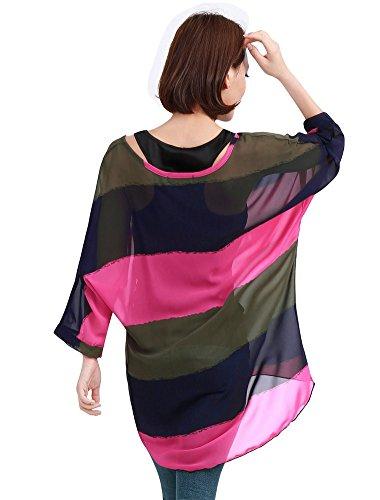 Manica shirt Taglie Donna Blusa T 3 Chiffon Maglietta 4 Shirt Fiori BienBien T B3 Forti Bohemian Chiffon Stampa XqPndRwFx