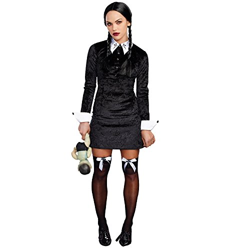 Dreamgirl Women's Friday Velvet Dress Halloween Costume, Black/White,