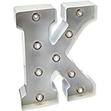 Darice White Metal Marquee Letter K – Industrial, Vintage Style Light Up Letter Includes an On/Off Switch, Perfect for Events or Home Décor (5915-788)