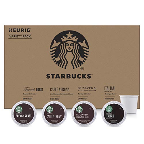 Starbucks Dark Roast Coffee K-Cup Variety Pack for Keurig Brewers, 96 Count K-Cup Pods (4 Roasts With 24 Pods Each)