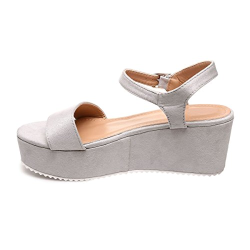 La Modeuse - Sandalias de vestir para mujer gris