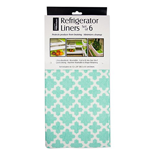 DII Non Adhesive Cut to Fit Machine Washable Fridge Liner For Drawers, Bins, Trays, Protect Produce, Set of 6, 12 x 24 - Aqua Lattice