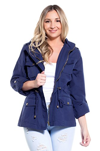 Zip Hooded Anorak - Instar Mode Women's Anorak Safari Hoodie Jacket up to Plus Size (JK07014 Navy, Large)
