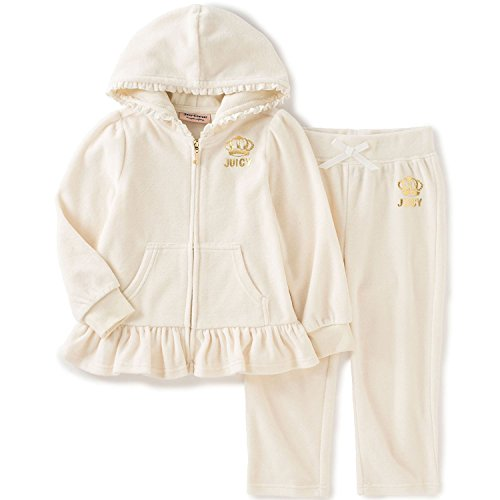 Juicy Couture Baby Girls' 2 Piece Velour Hooded Jacket and Pant Set, Vanilla, 18 Months
