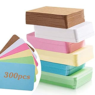 "Primbeeks 300pcs Premium Blank Business Cards, 6 Colors Kraft Cards, 3.5"" x 2.2"" Small Blank Cards, Blank Cardstock Cards, Small Note Cards, Plain Business Cards, Message Card Kraft Note Paper Tags"