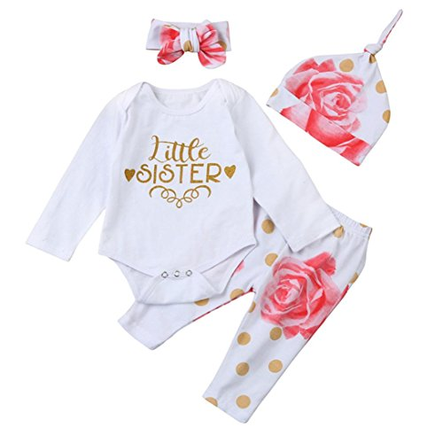 Nmch Baby Girls Clothes Set ,4Pcs Newborn Infant Kids Romper Tops+Floral Pants +Hat+Headband Outfits Clothing (70CM, White) (Little Bitty Hat)