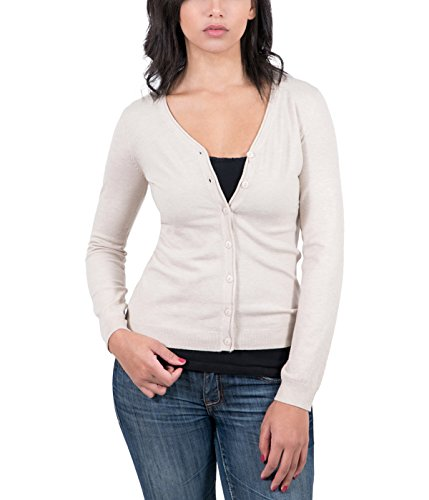 - RC Cashmere Blend Beige Womens V-Neck Cardigan for Womens