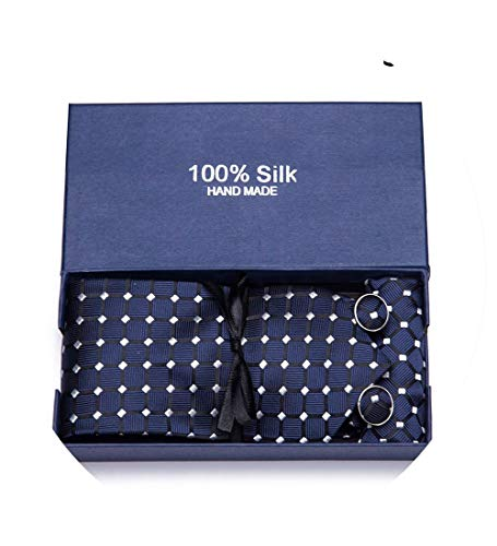 Gift Box 2019 Men Tie 100% Silk Jacquard Woven Necktie Hanky Cufflinks Paisley Sets Formal Wedding Business Party,SC11