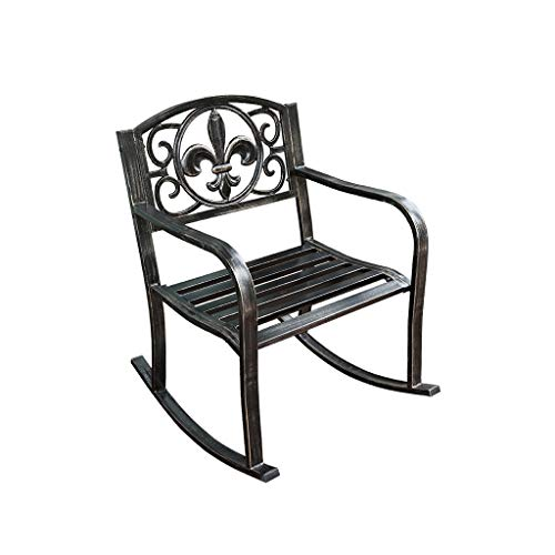HTPOW-M Outdoor Single Rocking Chair, Wrought Iron Cushioned Lounge Armchair For Patio/Courtyard/Garden 1119-YY (Size…