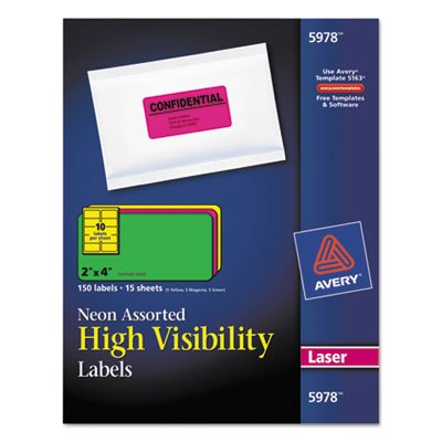 High-Visibility Laser Labels, 2 x 4, Assorted Neons, 150/Pack, Sold as 1 Package ()