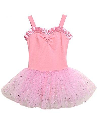 POGT Little Girls Cute Dancing Ballet Leotard Sweetheart Tutu Dress (8-9 Year, Pink)