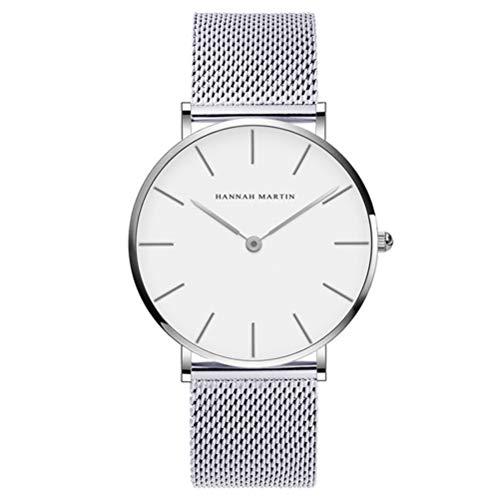 Dovkumo Men's Ultra Thin Quartz Stainless Steel Mesh Band Watch (White Dial,Silver-Tone Band) -
