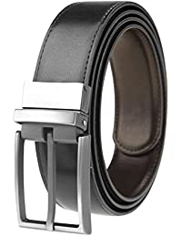 """Men's Reversible Leather Dress Belt 1.3"""" Wide Rotated Buckle"""