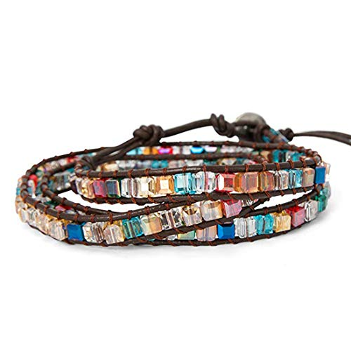 Crystal Bracelet Jewelry Handmade Leather Wrap Bracelet Multi Color Beads Natural Stone Bracelet ()