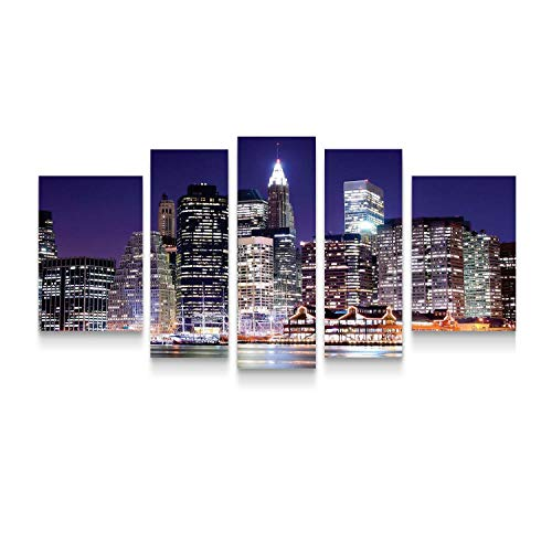 Startonight Canvas Wall Art New York City - Manhattan NY Framed Set of 5 Large 36 x 71 Inches (New Furniture York In Made Patio)