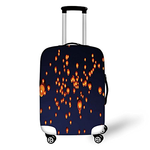 Travel Luggage Cover Suitcase Protector,Lantern,PingXi District Festival at Night Taipei Taiwan Good Vibes Hope for Future,Night Blue Orange,for Travel