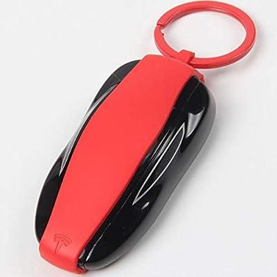 Tesla Model 3 Key fob case Cover, Silicone Car Key Protector Holder Tesla Key Band for Tesla (Red): Automotive
