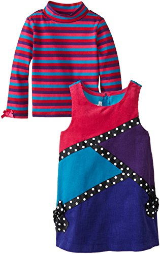 Bonnie Jean Little Girls' Toddler Dress Coloblock Corduroy Jumper Set, Fuchsia, 4T ()