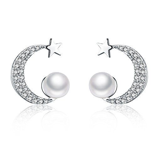 Pearl Moon Earrings - Moon and Star Pearl Dangle Earrings White Gold Plated Paved Cubic Zirconia Earrings 925 Sterling Silver Jewelry for Mother Daughter ¡