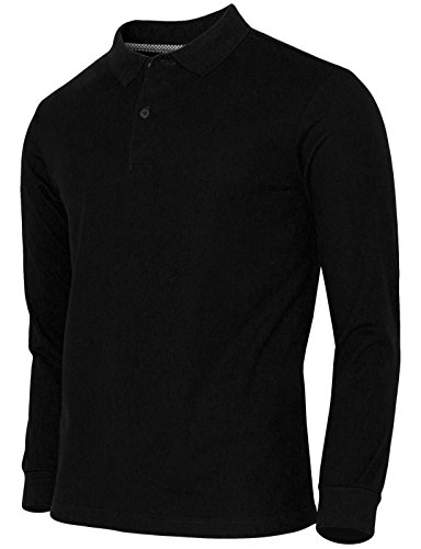 BCPOLO Men's Polo Shirt Cotton Pique Polo Shirt Long Sleeve Polo Shirt Black US_Small(Asian M) (Classic Solid Pique Polo)
