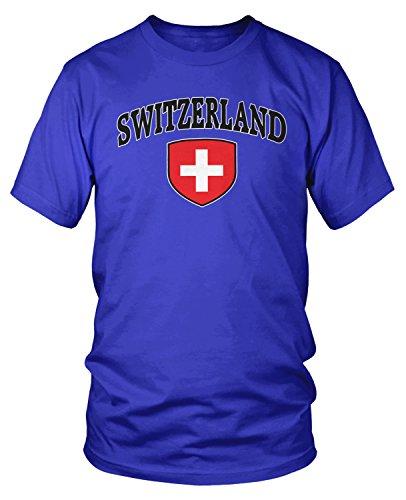 Switzerland Flag T-shirt (Amdesco Men's Switzerland Flag Shield, Swiss Flag T-shirt, Royal Blue Large)