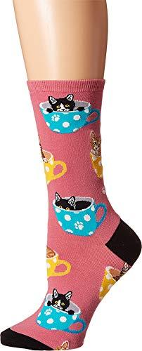 Socksmith Cat-Feinated Pink 9-11 (Women's Shoe Sizes 5-10.5)