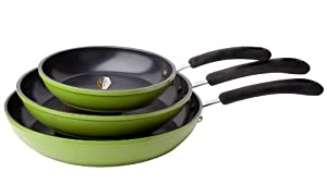 "Green Earth Frying Pan 3-Piece Set by Ozeri (8"", 10"", 12""), with Textured Ceramic Non-Stick Coating from Germany (100% PTFE, PFOA and APEO Free)"